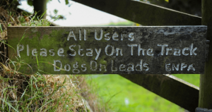 Sign on a gate